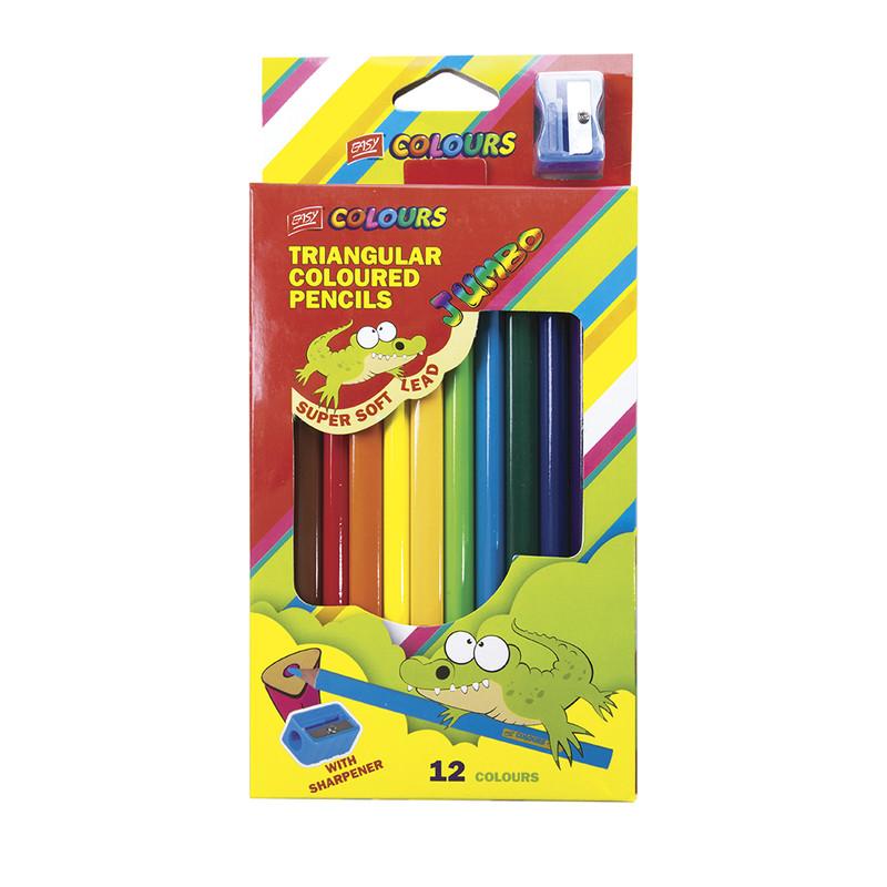 EASY - Trojhranné pastelky JUMBO 12 ks so strúhadlom nelámavé