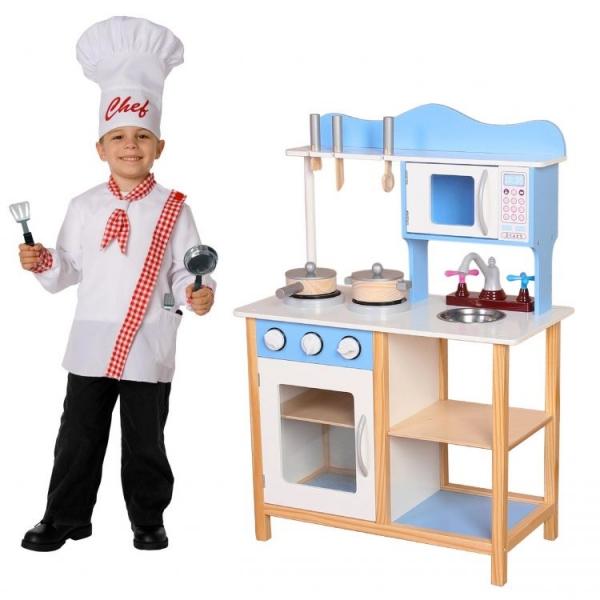 ECO TOYS - Drevená kuchynka s príslušenstvom, 85 x 60 x 30 cm - modrá