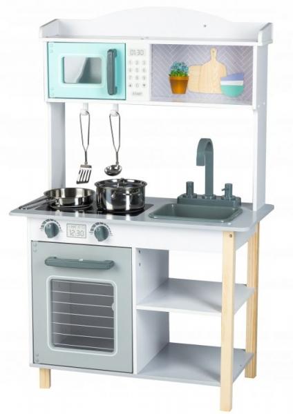 ECO TOYS - Drevená kuchynka s príslušenstvom, 85 x 60 x 30 cm - sivá