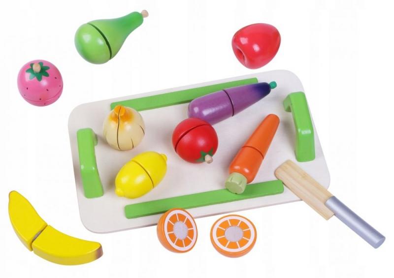 ECO TOYS - Drevená zelenina a ovocie s doskou