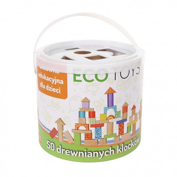 ECO TOYS - Drevené kocky vo vedierku - 50 kusov