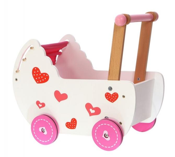 ECO TOYS - Drevený kočík pre bábiky - ružový
