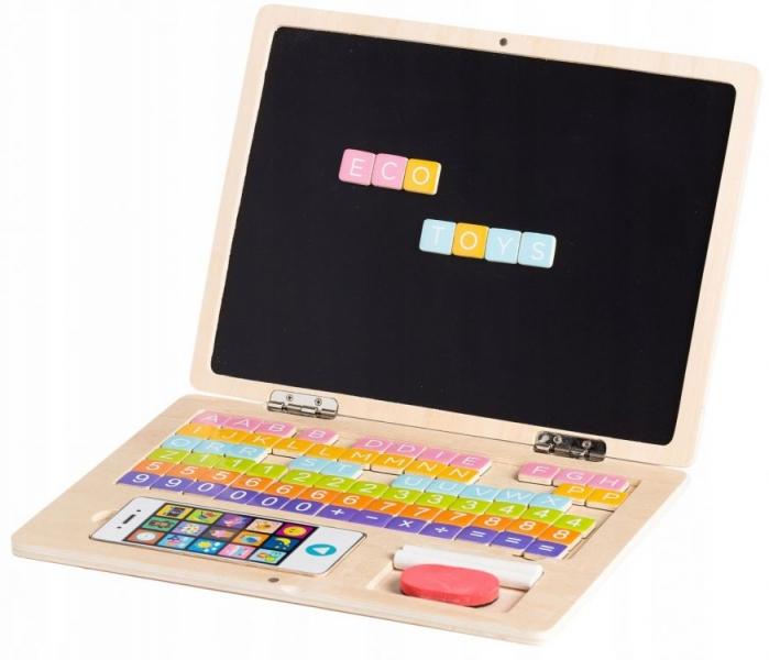 ECO TOYS - Drevený notebook s magnetickým monitorom