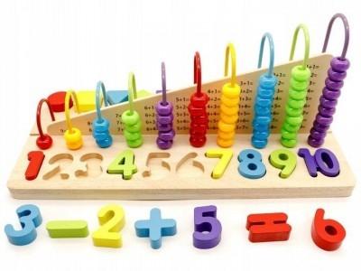 ECO TOYS - Edukačná drevená hračka, počítadlo + drevené kocky