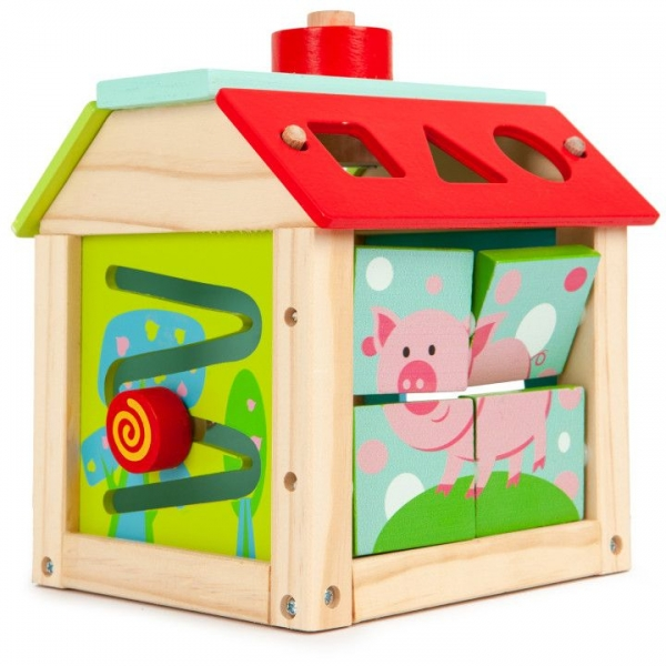 ECO TOYS - Edukačná drevená kocka - Farma