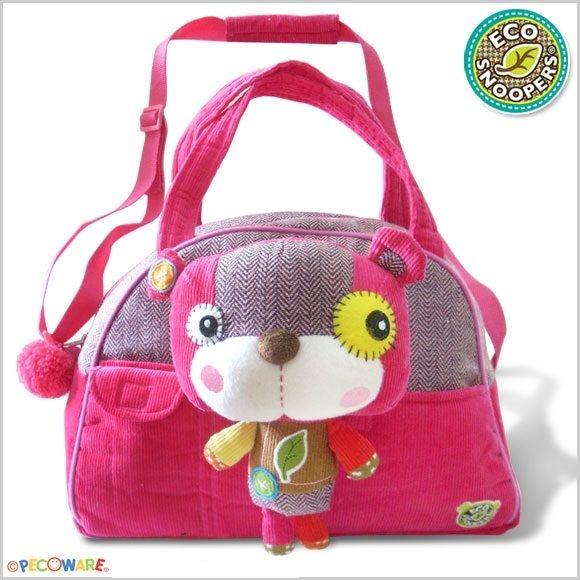 ECOSNOOPERS - Štýlová detská taška Macko - růžový