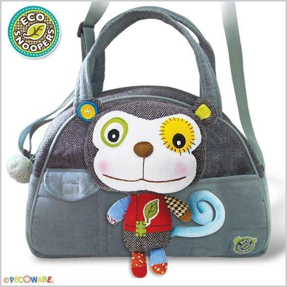 ECOSNOOPERS - Štýlová detská taška Opička - sivá