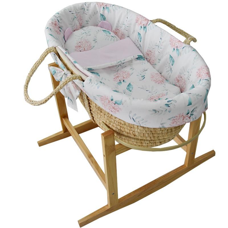 EKO - Kôš Mojžišov pre bábätko Natural so stojanom matrac + príslušenstvo Hydrangea