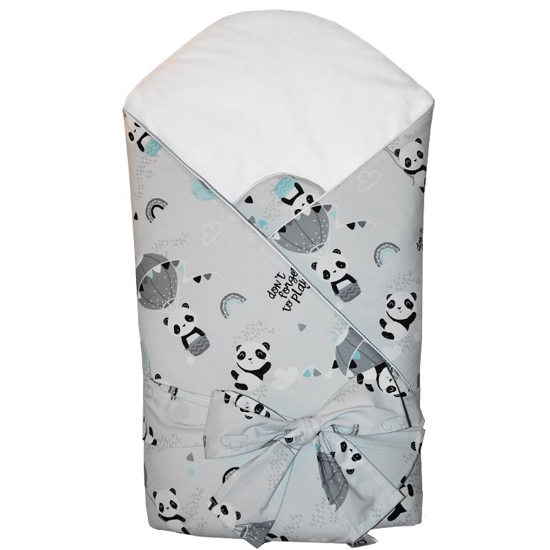EKO - Zavinovačka bavlnená s kokosovým vnútrom Panda 75x75cm