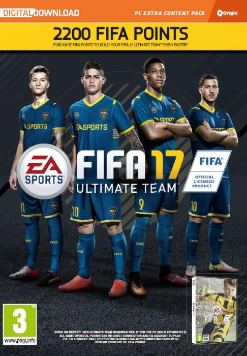 ELECTRONIC ARTS - PC FIFA 17 2200 FUT POINTS, Kupón na 2200 FUT bodov pre FIFA 17