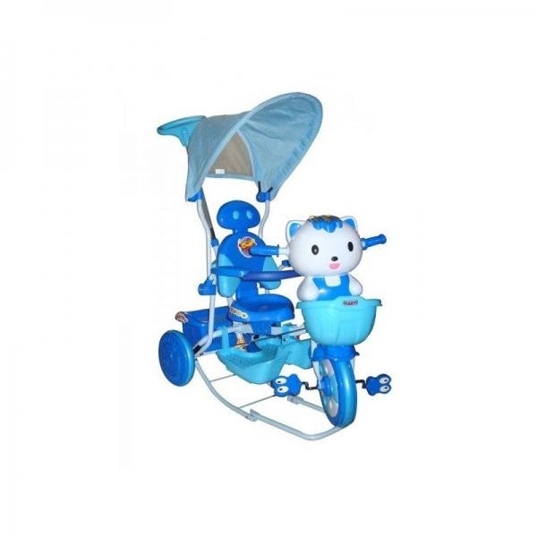 EURO BABY - Detská multifunkčná trojkolka Mačička - modrá
