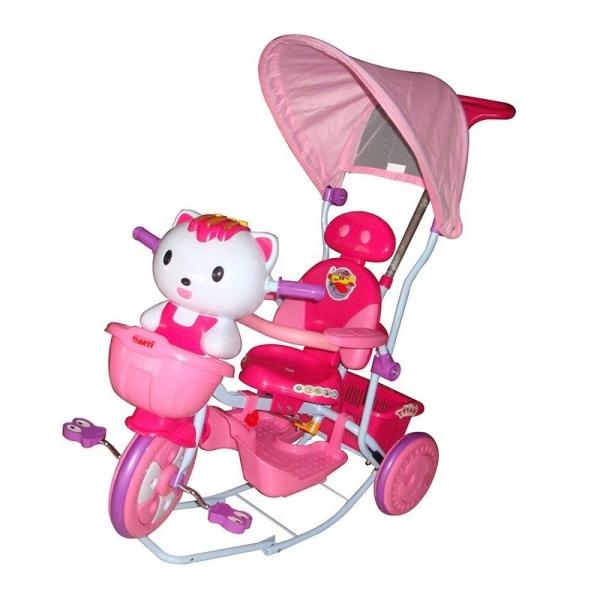 EURO BABY - Detská multifunkčná trojkolka Mačička - ružová