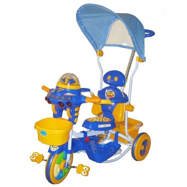 EURO BABY - Detská multifunkčná trojkolka Ufo - modro/žltá