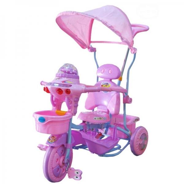 EURO BABY - Detská multifunkčná trojkolka Ufo - ružovo/fialová