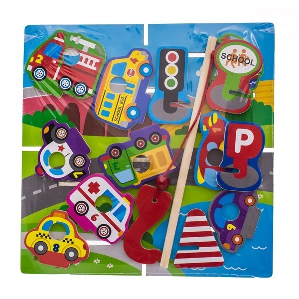 EURO BABY - Drevené zábavné puzzle, na chytanie a vkladanie - doprava