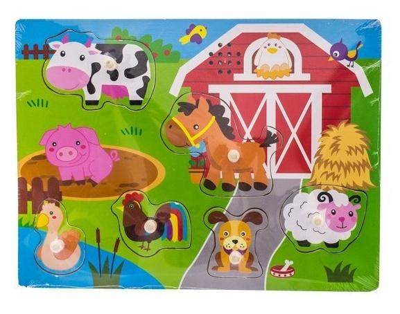EURO BABY - Drevené zábavné puzzle vkladacie so zvukom - farma