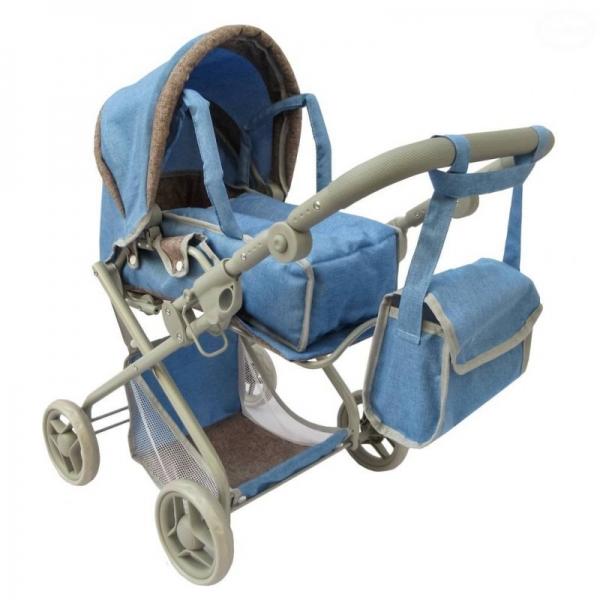 EURO BABY - Hlboký kočík pre bábiky 2v1 - modrý