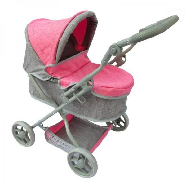EURO BABY - Hlboký kočík pre bábiky - ružovo/sivý