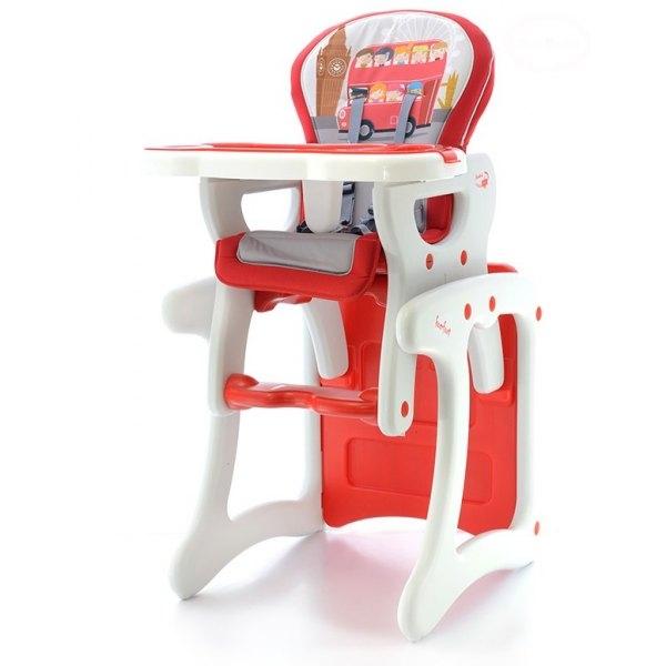 EURO BABY - Jedálenský stolček 2v1 - červený autobus, K19