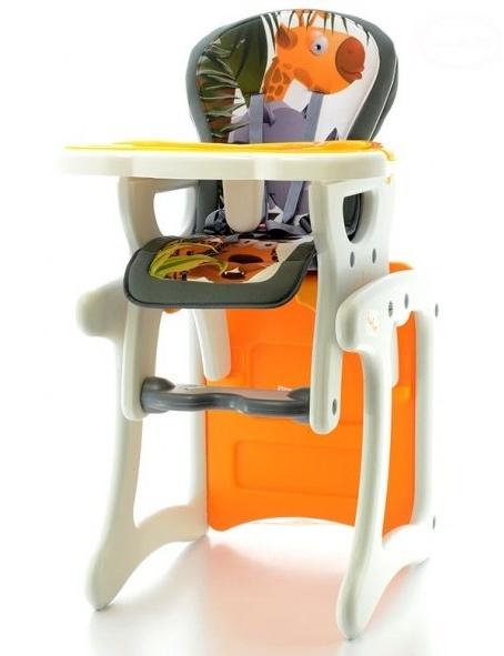 EURO BABY - Jedálenský stolček 2v1 - Žirafa oranžová, K19