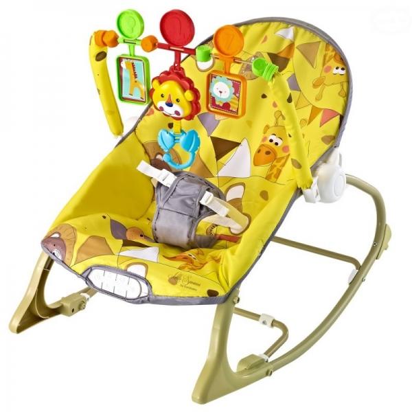 EURO BABY - Lehátko, hojdačka pre dojčatá s vibrácií a hudbou Little savana - žlté, K19