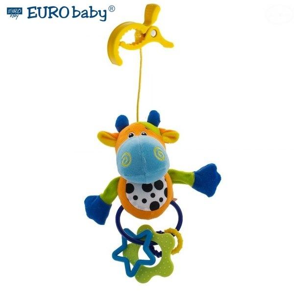 EURO BABY - Plyšová hračka s klipom a hrkálkou - Kravička, Ce19