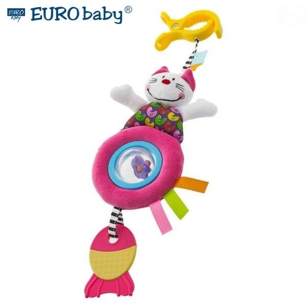 EURO BABY - Plyšová hračka s klipom a hrkálkou - mačička, Ce19