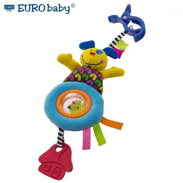 EURO BABY - Plyšová hračka s klipom a hrkálkou - Psík, Ce19