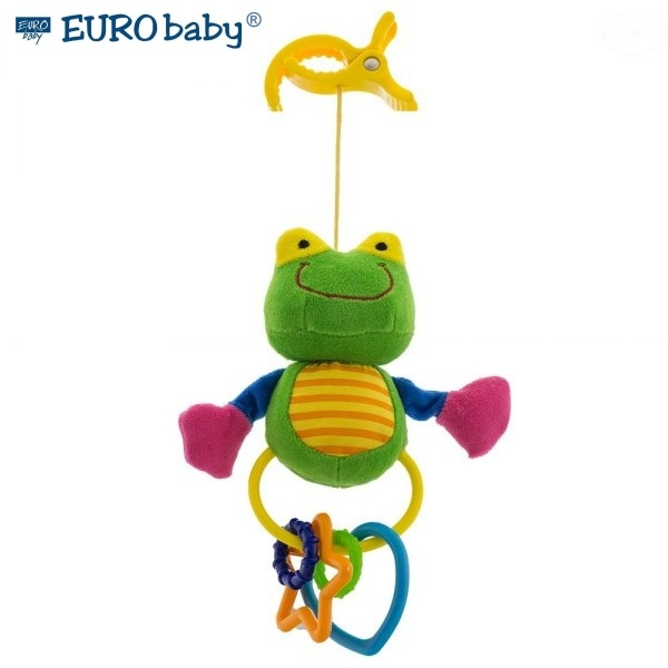 EURO BABY - Plyšová hračka s klipom a hrkálkou - Žabička, Ce19
