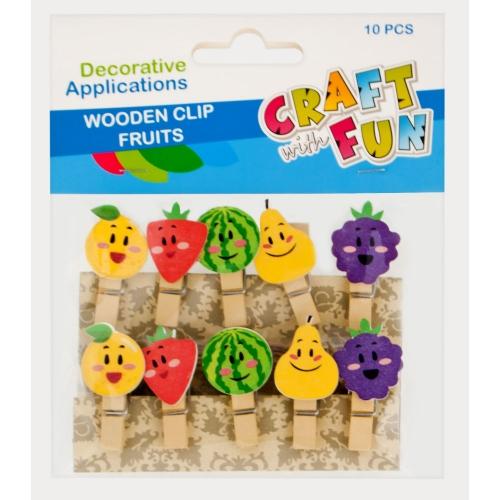 EURO-TRADE - Craft with Fun Drevené štipce ovocie 10ks