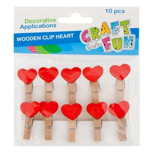 EURO-TRADE - Craft with Fun Drevené štipce srdce 10ks