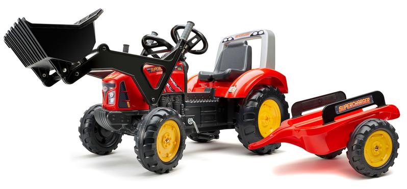 FALK - Šliapací traktor 2020M Supercharger s nakladačom a vlečkou červený