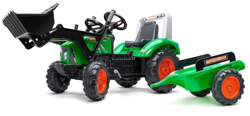 FALK - Šliapací traktor 2021M Supercharger s nakladačom a vlečkou zelený