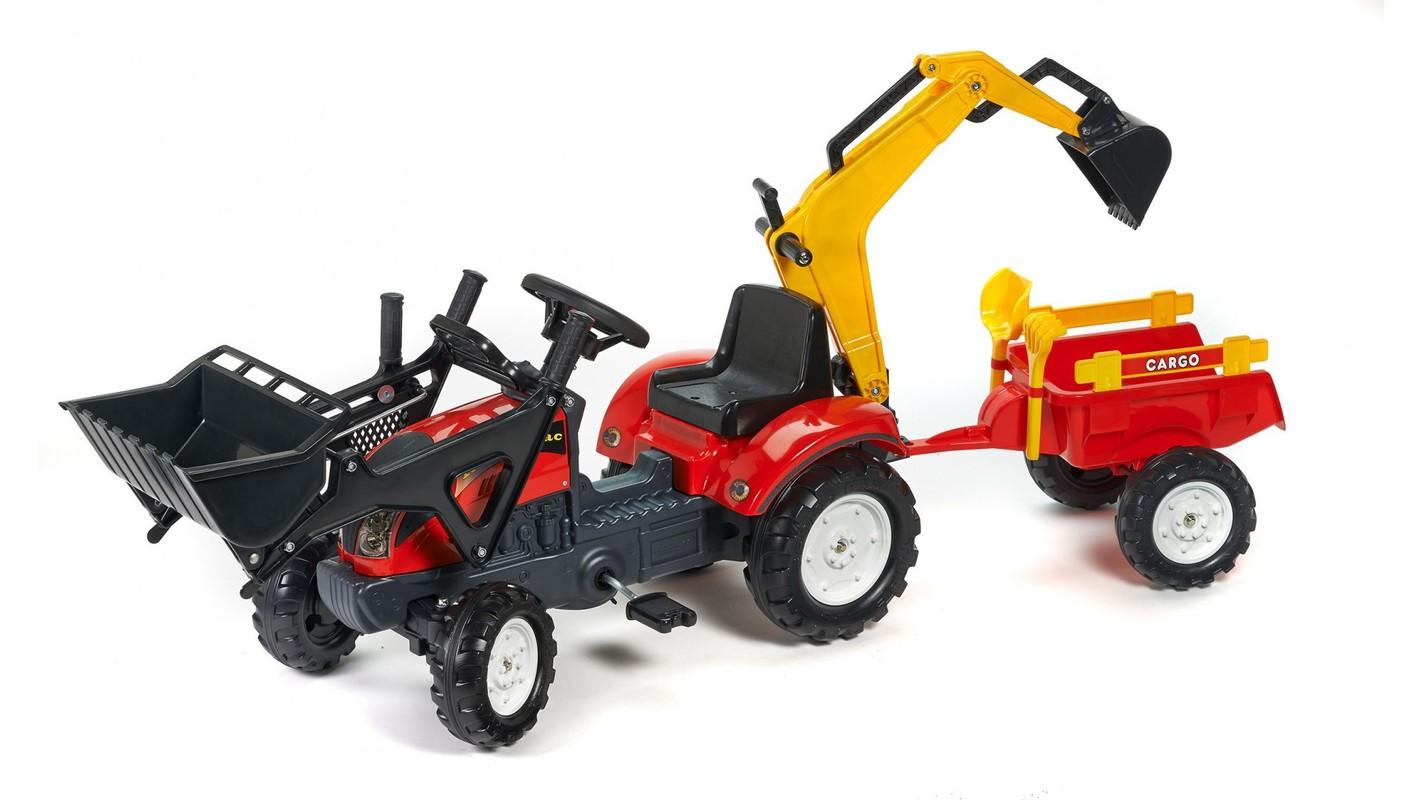 FALK - Šliapací traktor 2051CN Ranch Trac červený s nakladačom, vlečkou, rýpadlom a lopatkou s hrabličkami