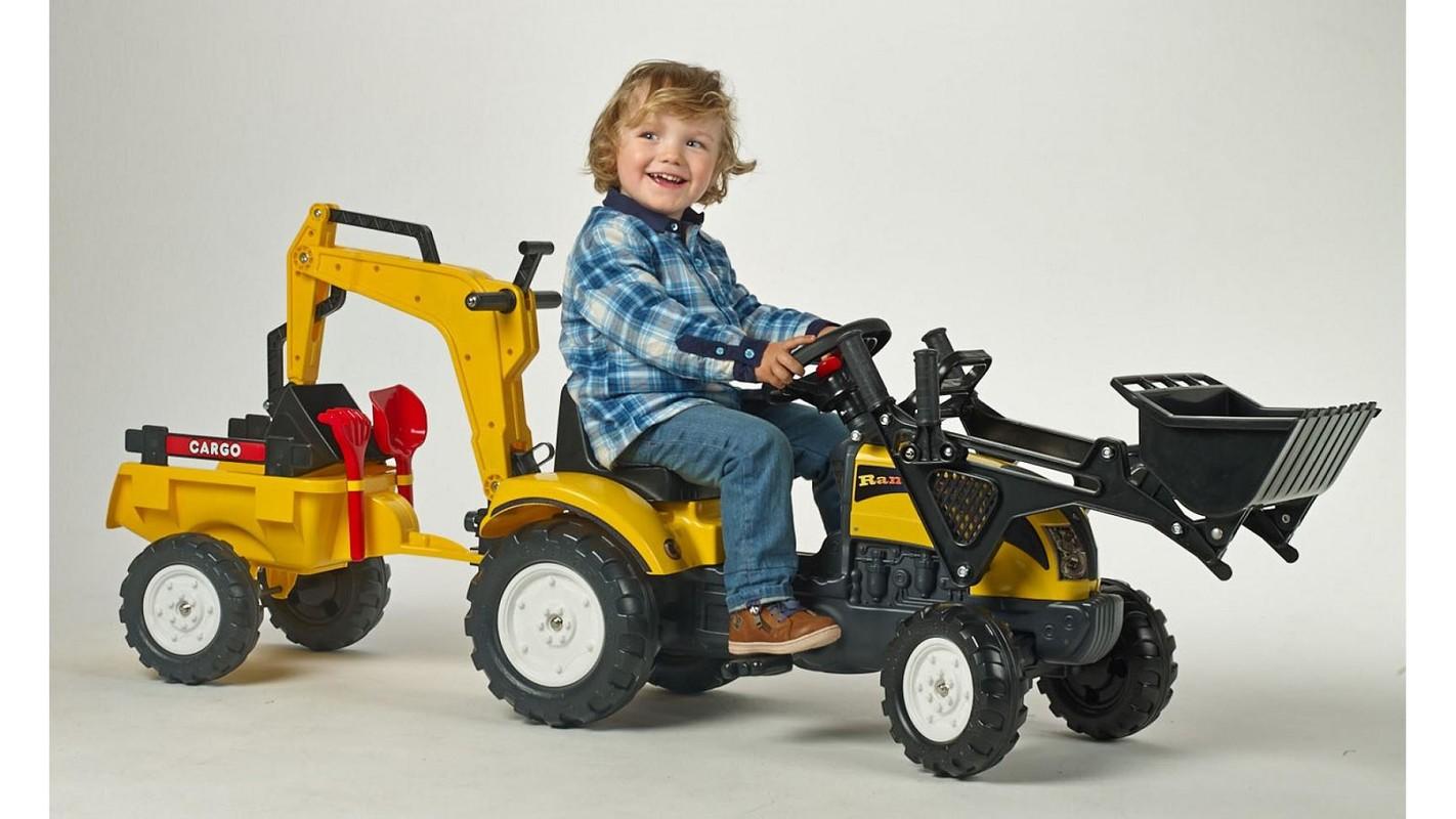 FALK - Šliapací traktor 2055CN Ranch Trac žltý s nakladačom, vlečkou, rýpadlom a lopatkou s hrabličkami