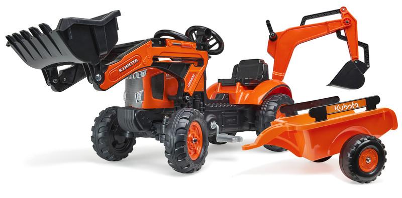 FALK - šliapací traktor 2065N Kubota backhoe s predným bagrom a prívesom s otočným bagrom