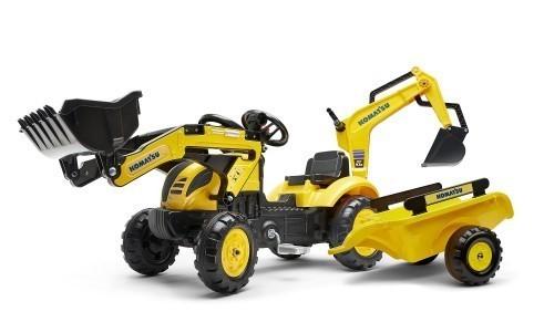 FALK - Šliapací traktor 2076N Komatsu s nakladačom, rypadlom a vlečkou