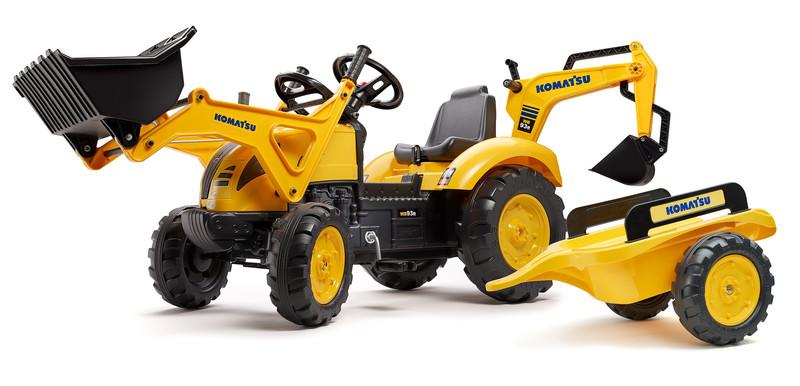 FALK - Šliapací traktor 2086Y Komatsu s nakladačom, rýpadlom a vlečkou