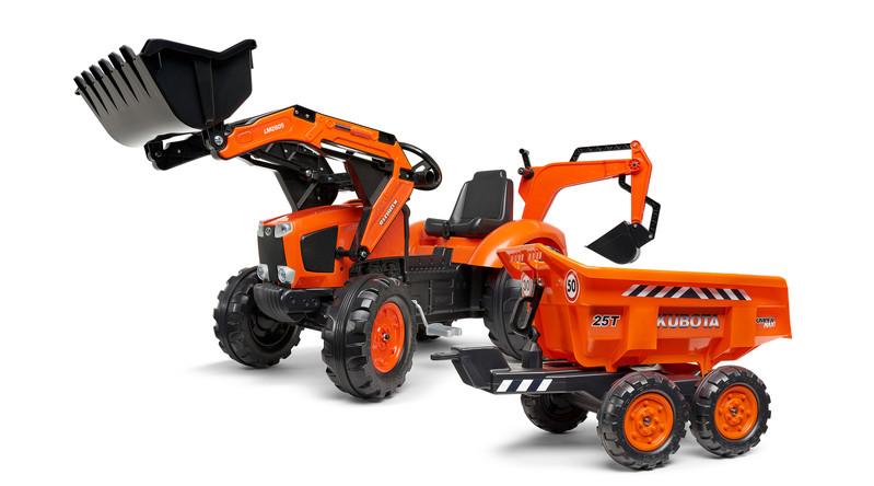 FALK - šliapací traktor 2090W Kubota s prednou a zadnou lyžicou a prívesom