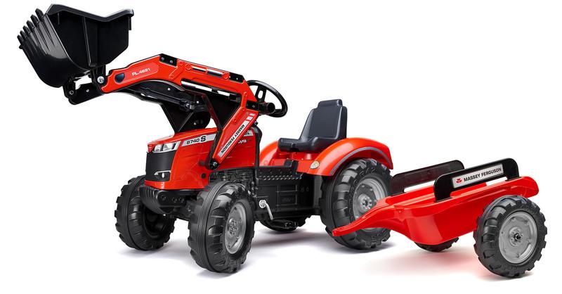FALK - Šliapací traktor 4010AM Massey Fergusson S8740 s nakladačom a vlečkou