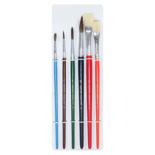 FOSKA - Sada štetcov 6 ks, guľaté + ploché Color /2,4,6,10 + 8,12/