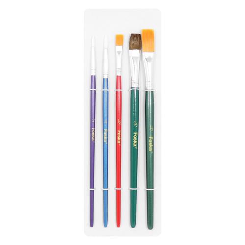 FOSKA - Sada štetcov Foska 5 ks, guľaté + ploché Color /2,4 + 1/4, 1/2, 1/2/