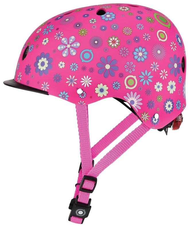 GLOBBER - Detská helma Elite Lights Deep Pink - Flower XS/S