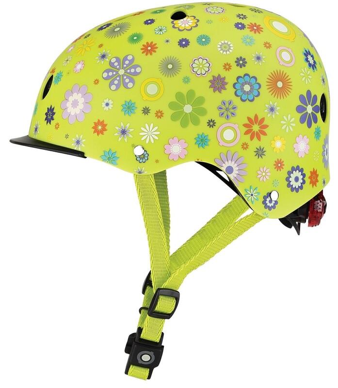 GLOBBER - Detská helma Elite Lights Lime Green - Flowers XS/S