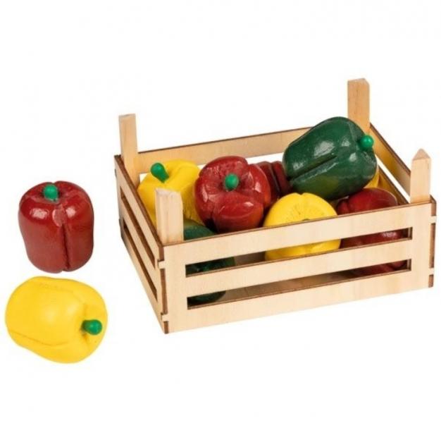 GOKI - Drevený košík s paprikou