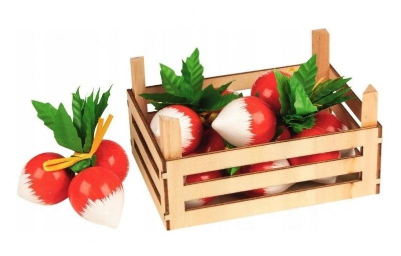 GOKI - Drevený košík s reďkovky