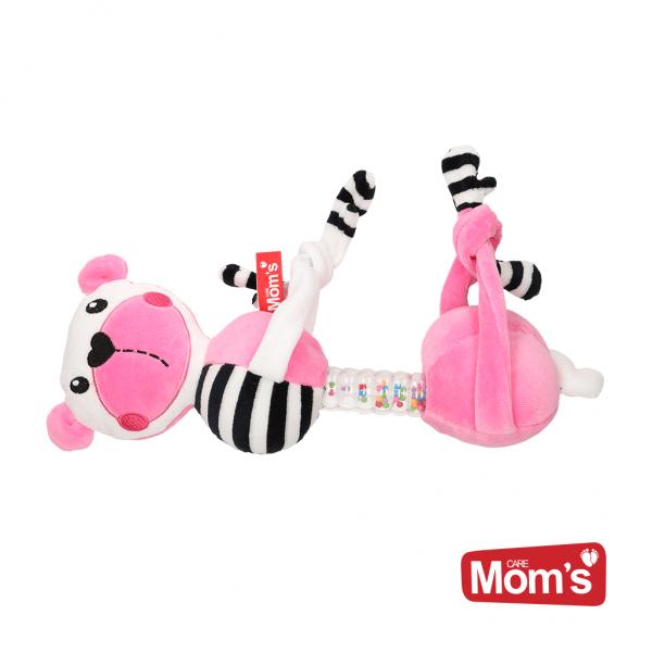 HENCZ TOYS - Edukačná hračka závesná s hrkálkou Macko - ružový