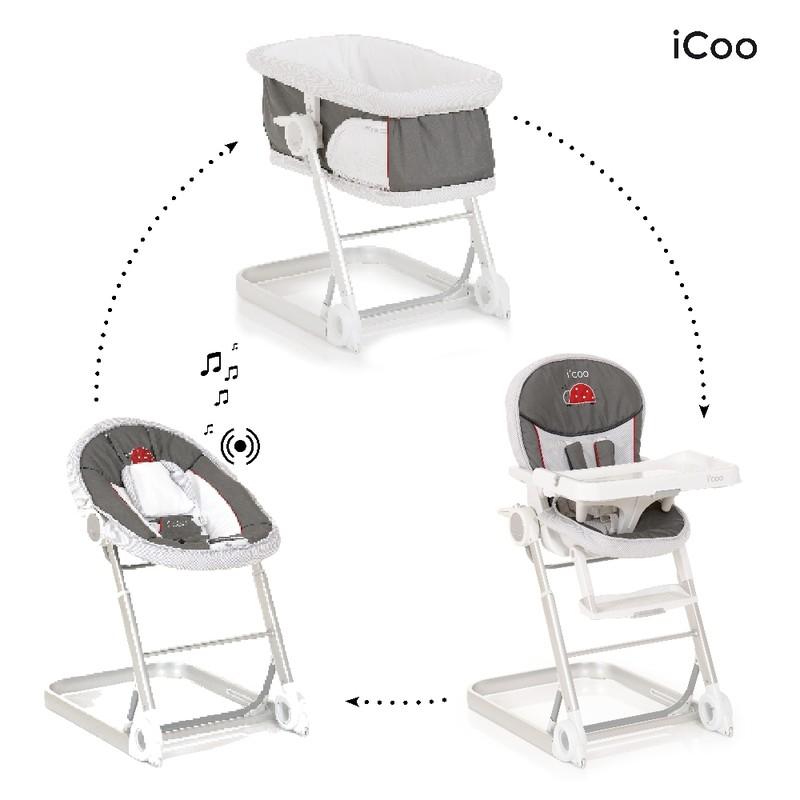 iCoo - Set kolíska, ležadlo, stolička na kŕmenie Grow with Me 1 2 3 - Bug 2018