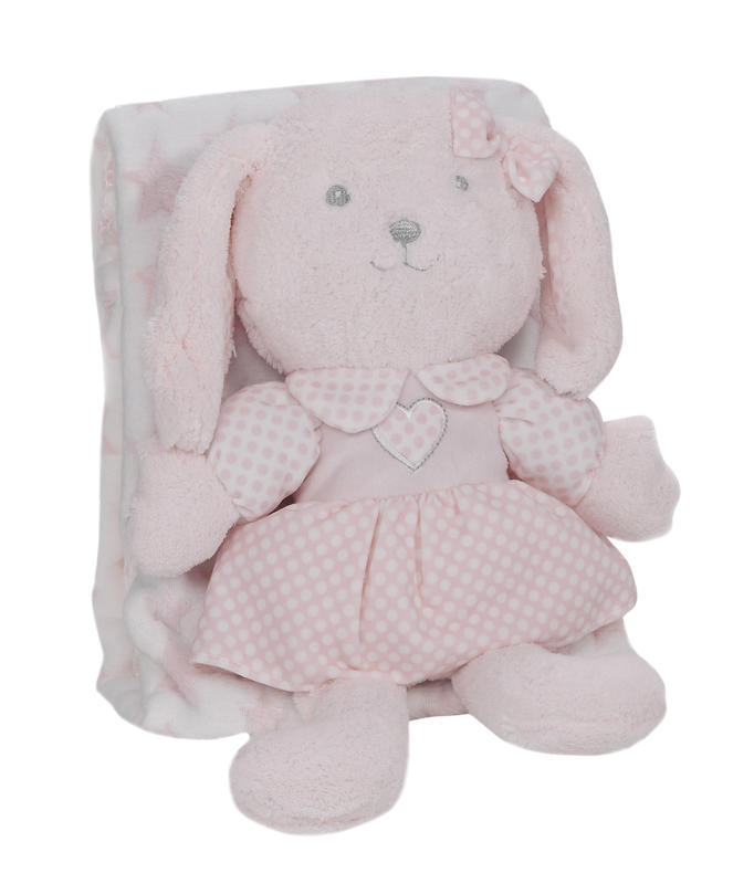 INTERBABY - Deka hviezda s králikom - RUŽOVÁ