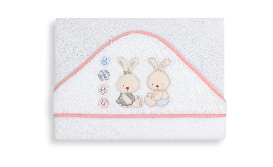 INTERBABY - Osuška froté BABY - Bielo-ružová